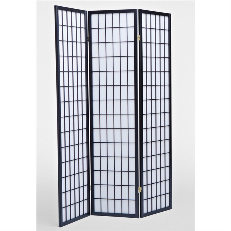 Shoji Oriental Tri Fold Screen / Room Divider, Black