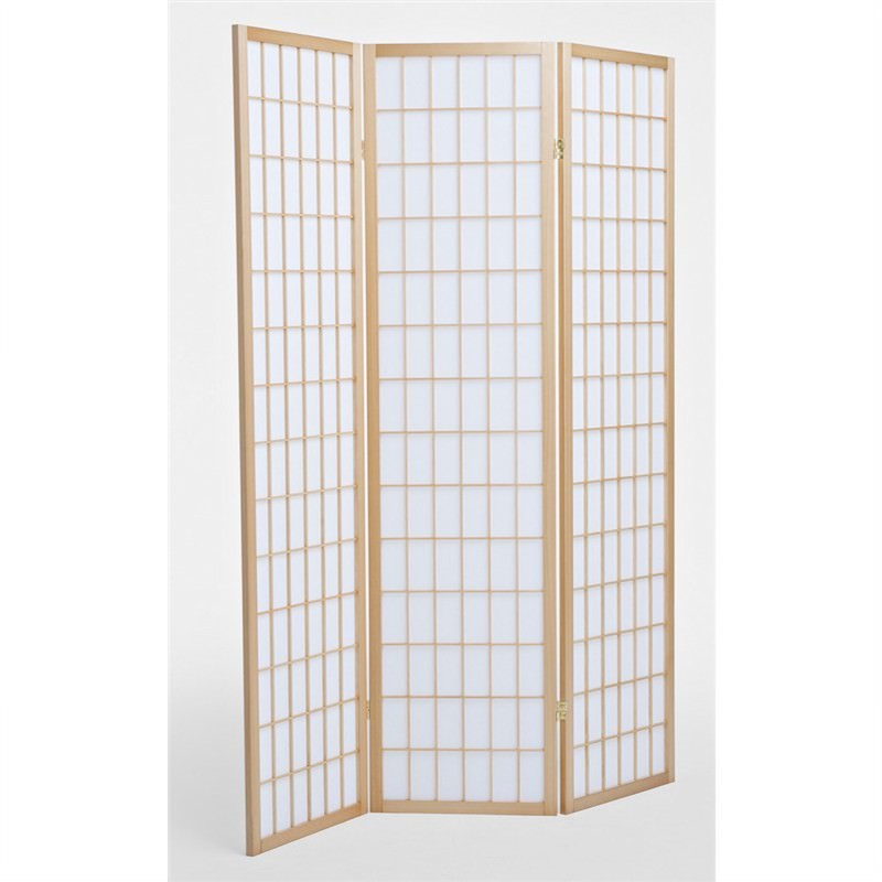 Shoji Oriental Tri Fold Screen / Room Divider, Teak