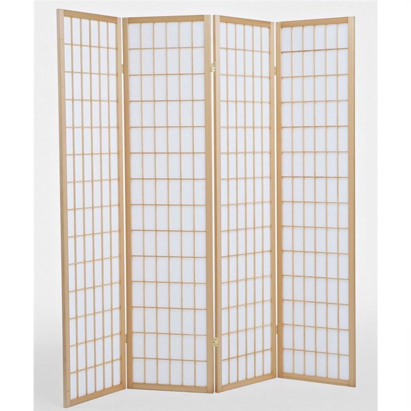 Shoji Japanese Style Quad Fold Room Screen Divider - Teak/White