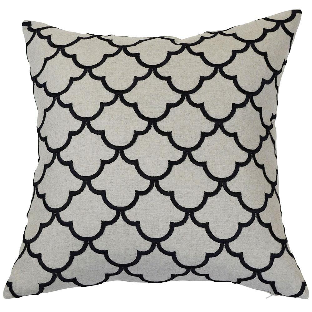 Margaret Linen Scatter Cushion Cover, Black