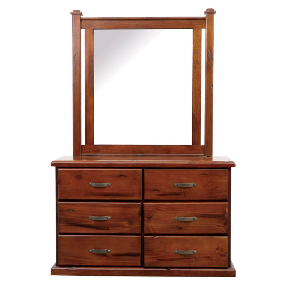 Spring New Zealand Pine Timber 6 Drawer Dresser with Mirror