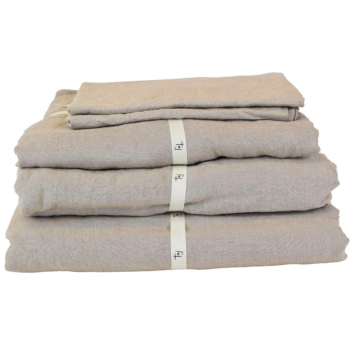 Taj French Linen Fitted Sheet, King, Natural