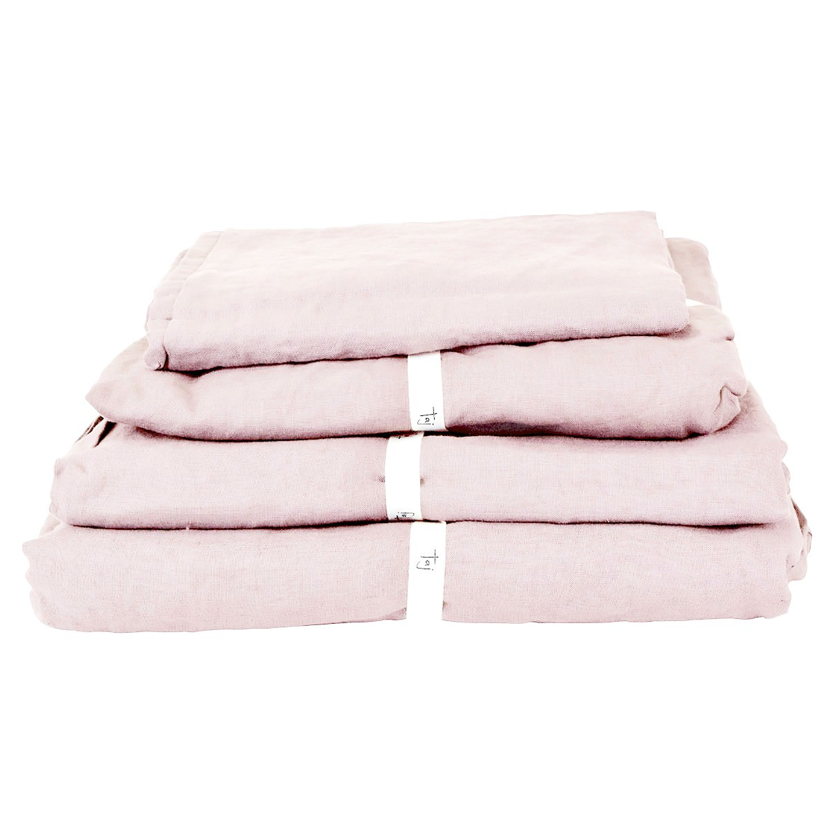 Taj French Linen Fitted Sheet, Queen, Blush