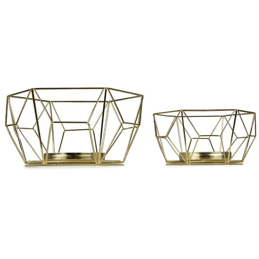 Luxe 2 Piece Nested Metal Wire Tealight Holder Set
