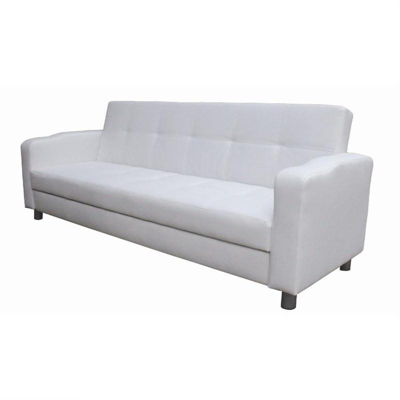 3 Seater Italian Design  White Pu Leather Sofa Bed Futon Sofabed