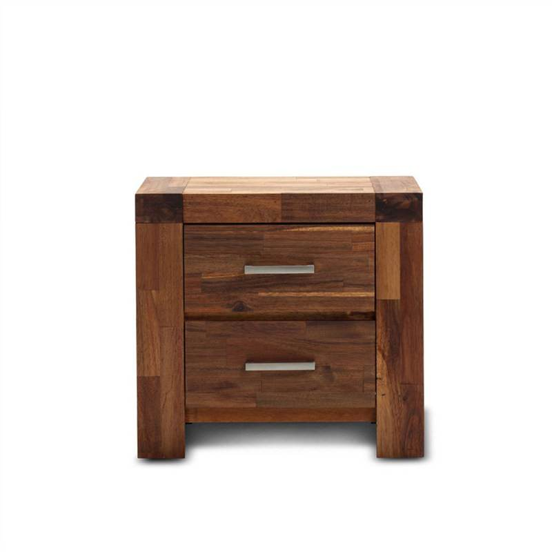 Phillipe Solid Acacia Timber 2 Drawer Bedside Table - Wire Brush Finish