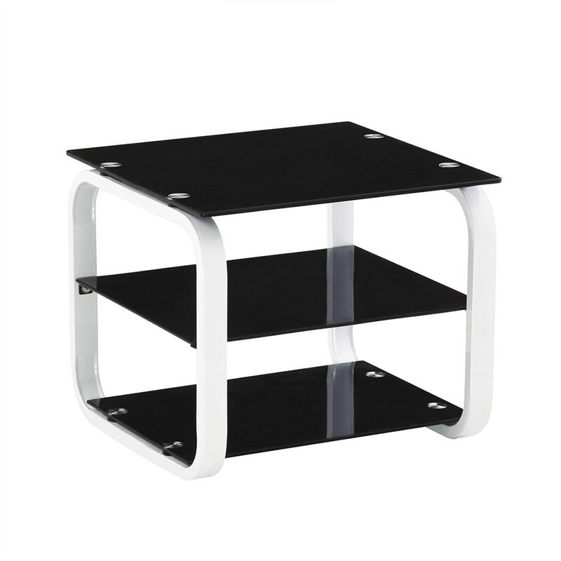 Jaxton Glass and Steel Square Lamp Table