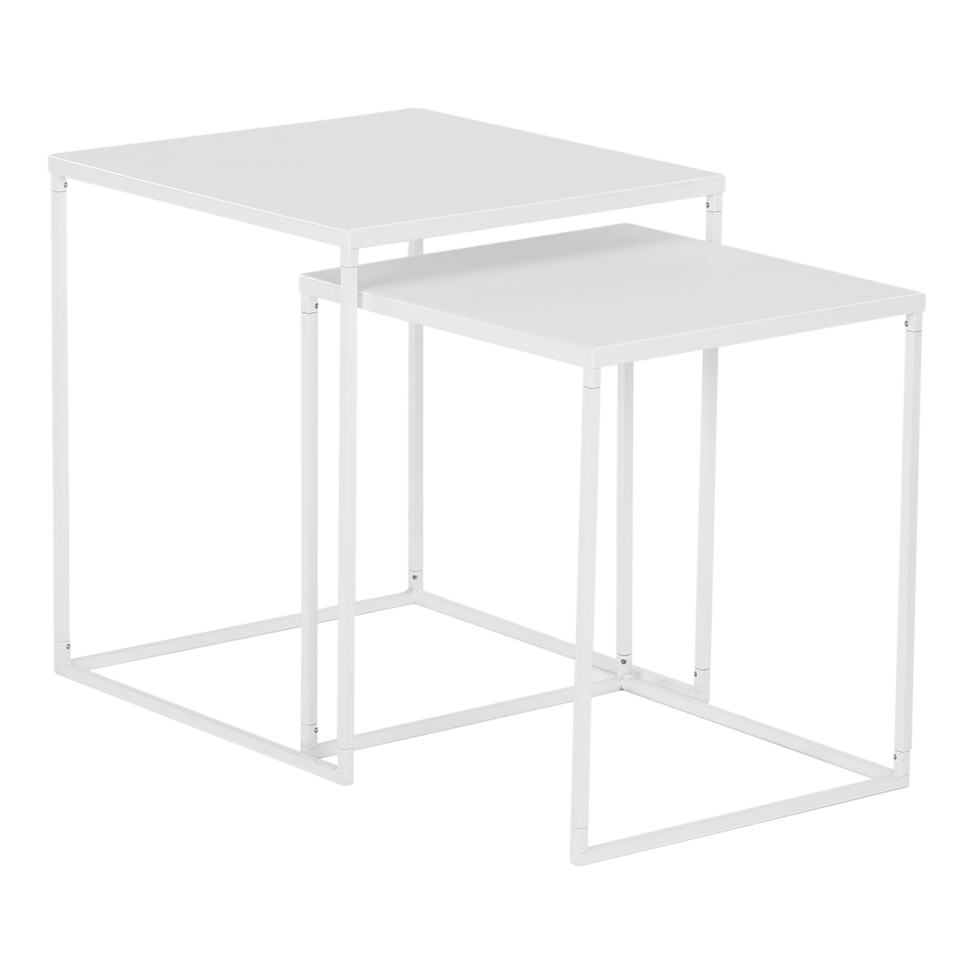 Darnell 2 Piece Metal Nesting Table Set, White