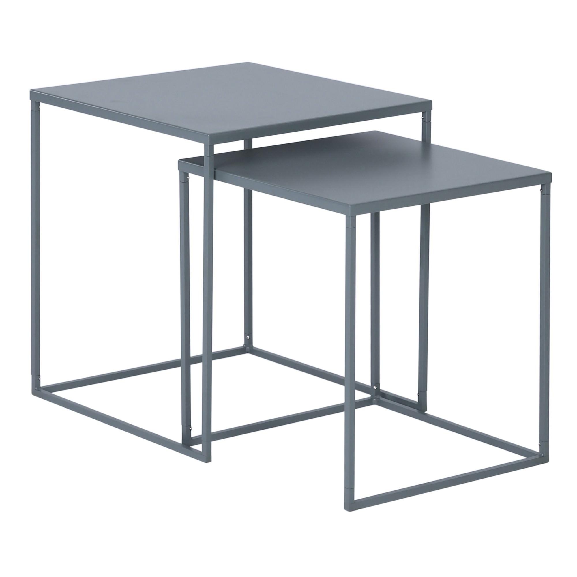 Darnell 2 Piece Metal Nesting Table Set, Grey
