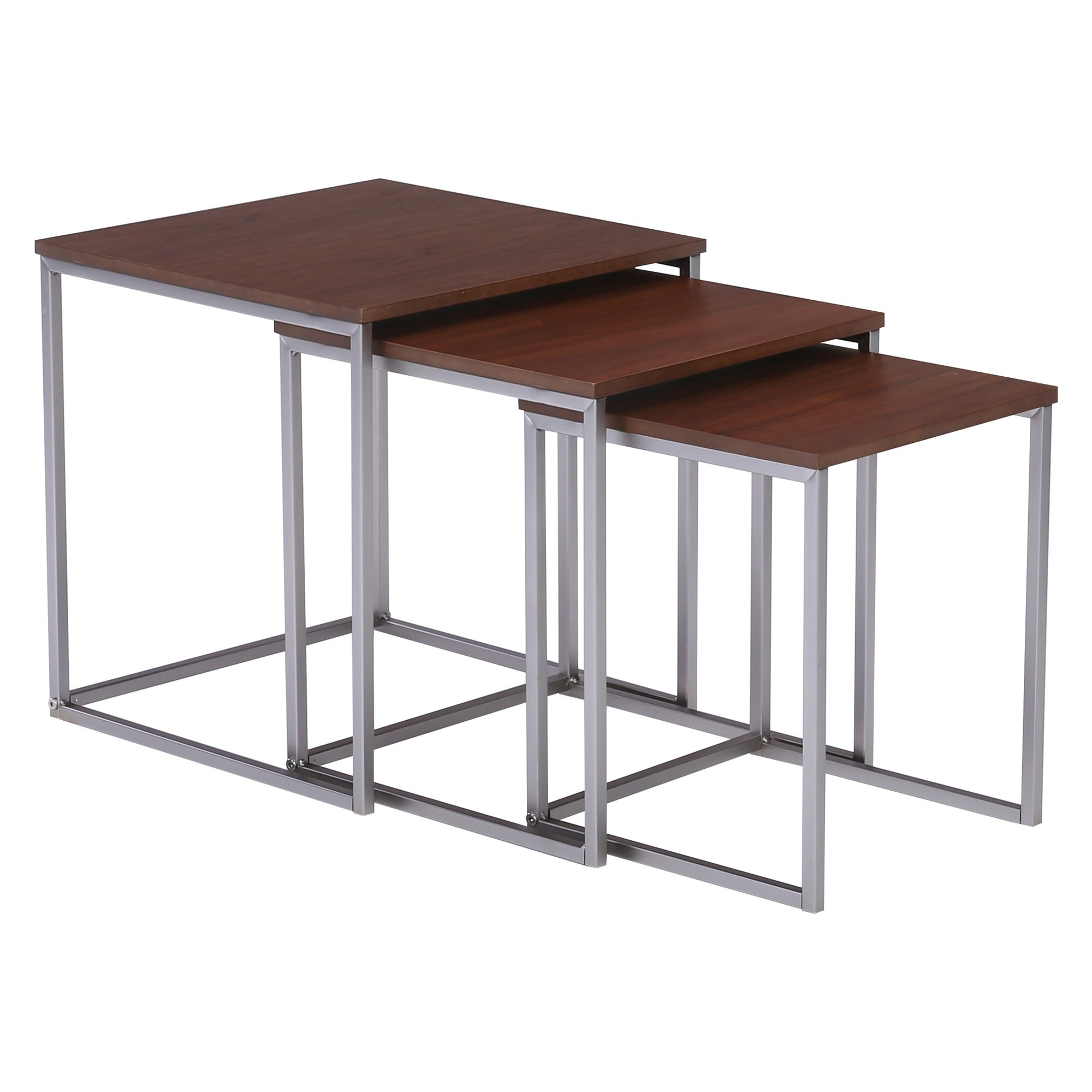 Melor 3 Piece Wood Topped Metal Nesting Table Set, Walnut / Silver