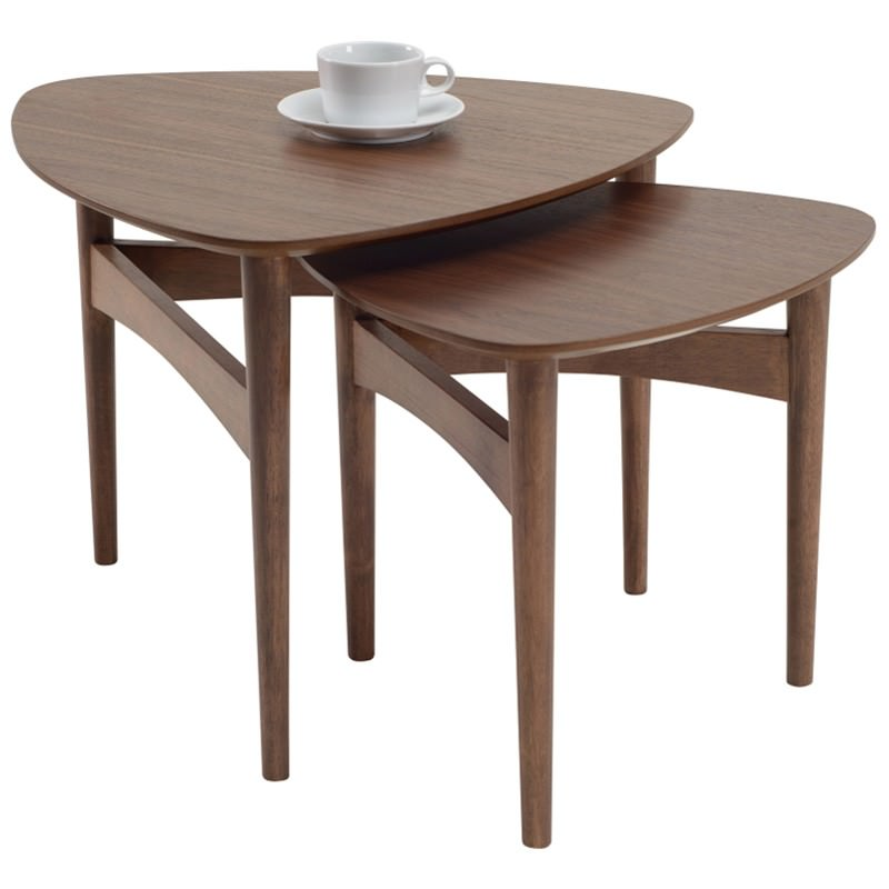 Poet 2 Piece Oak Timber Nesting Table Set, Walnut