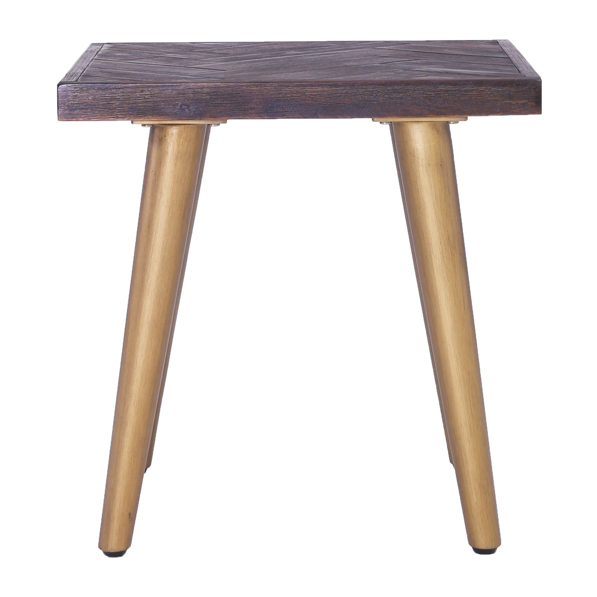 Sivan Commercial Grade Acacia Timber Topped Metal Side Table