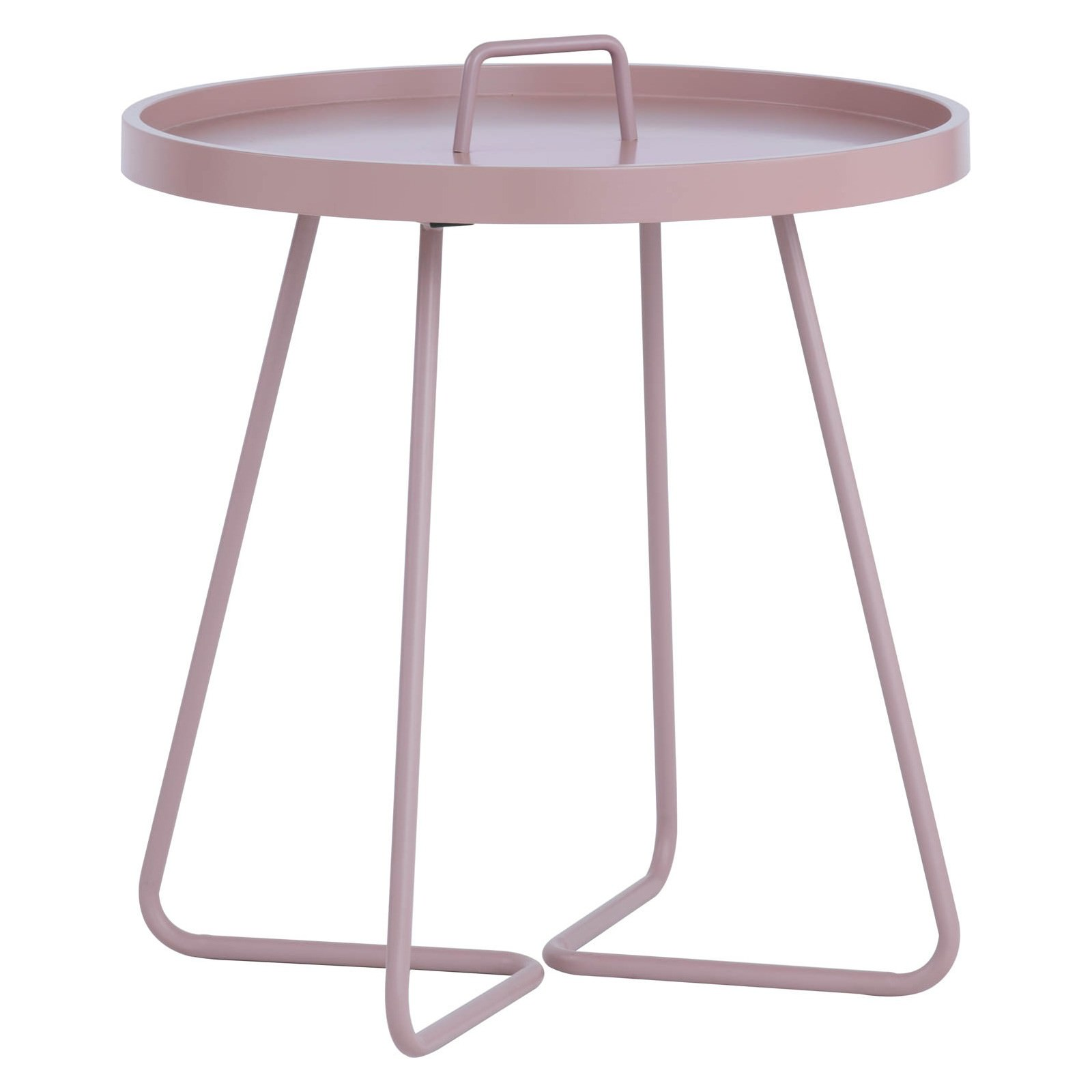 Jaxi Metal Round Tray Top Side Table, Lavender