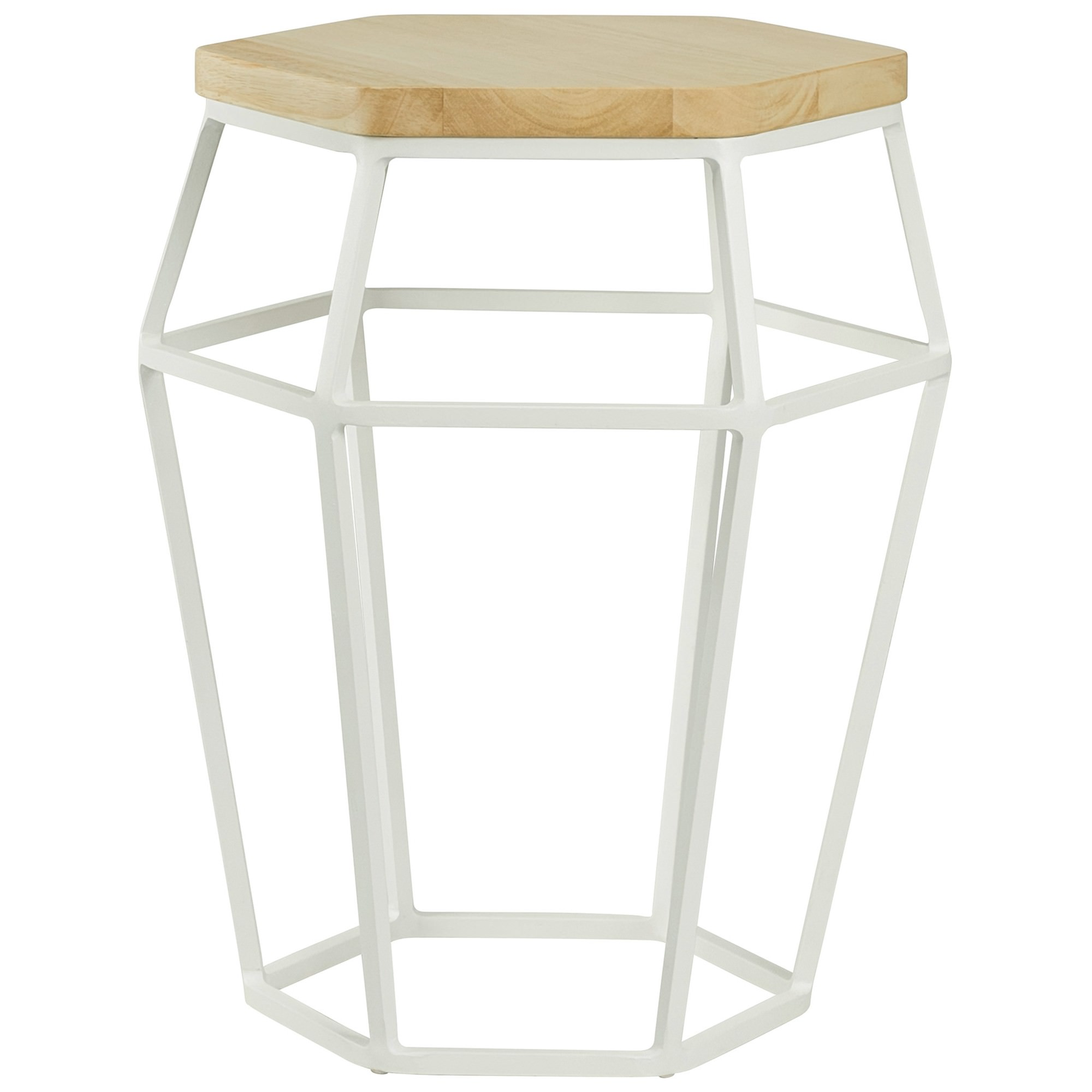 Ford Oak Timber Topped Metal Side Table / Stool, Oak / White