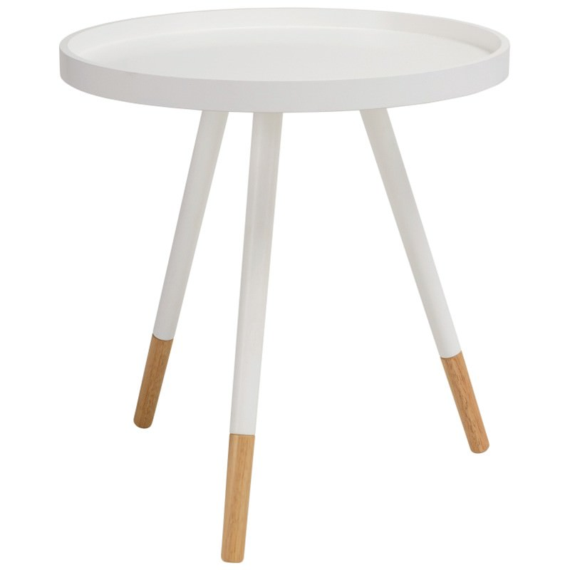 Innis Oak Timber Round Tray Top Side Table, White