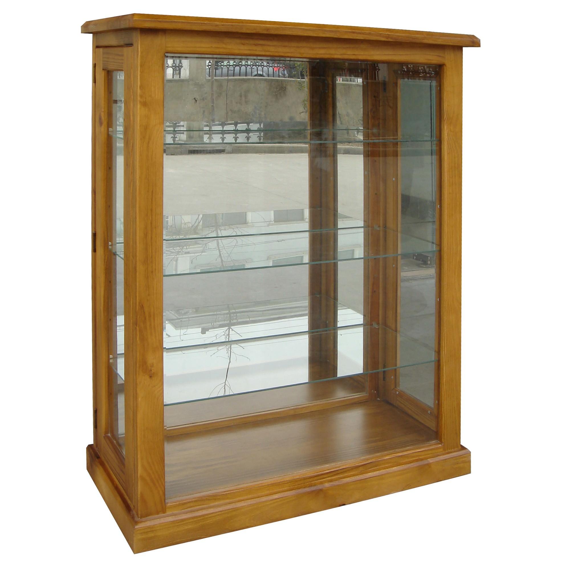 Sky New Zealand Pine Timber Display Cabinet, Blackwood