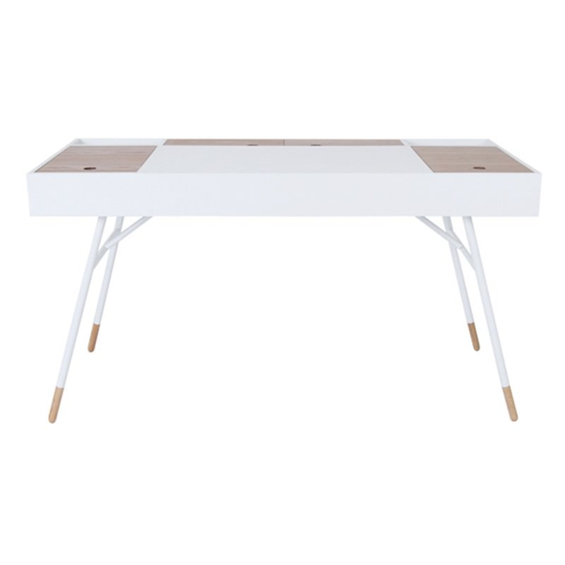 Morse Compartment Top Desk, White