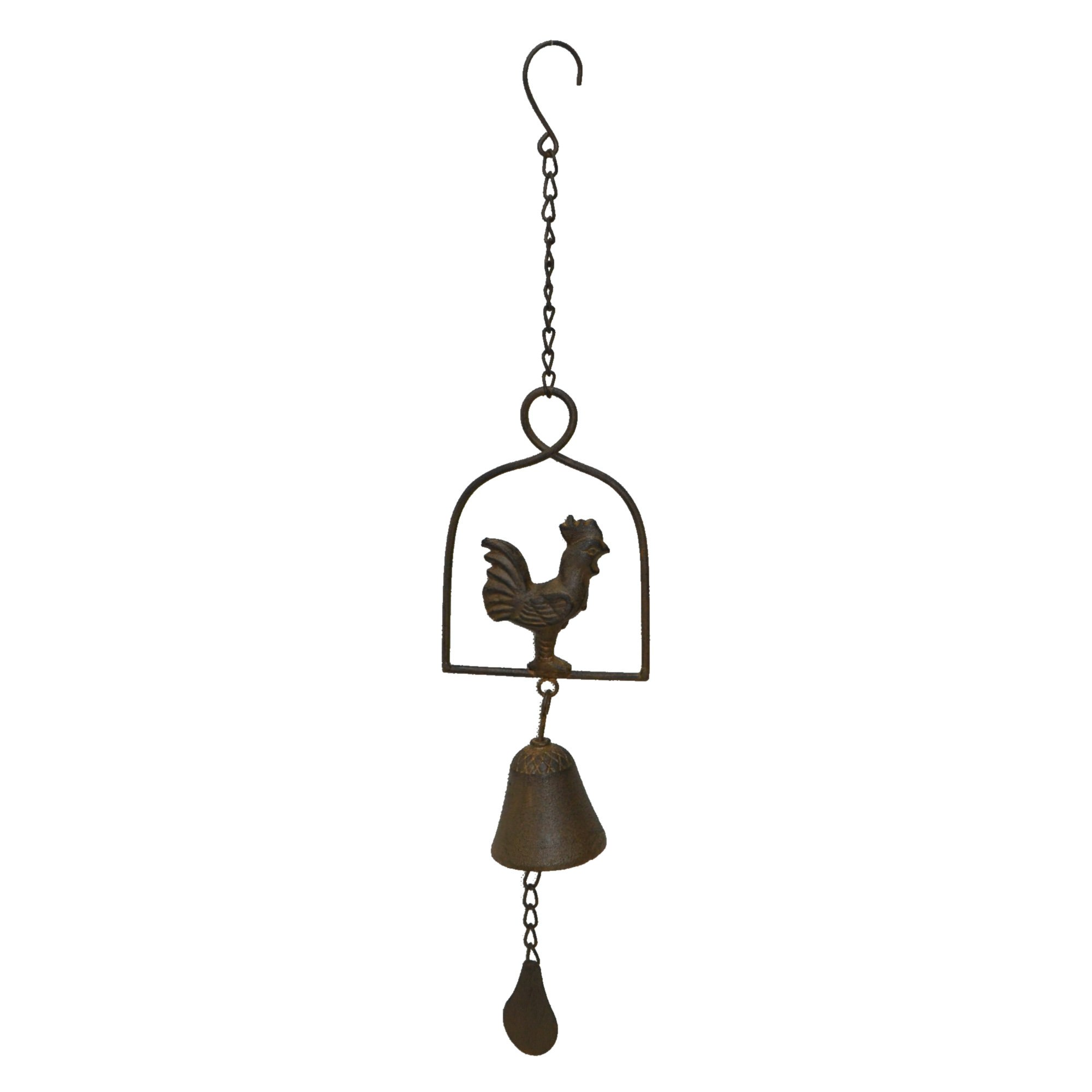 Cast Iron Rooster On Frame Wind Chime