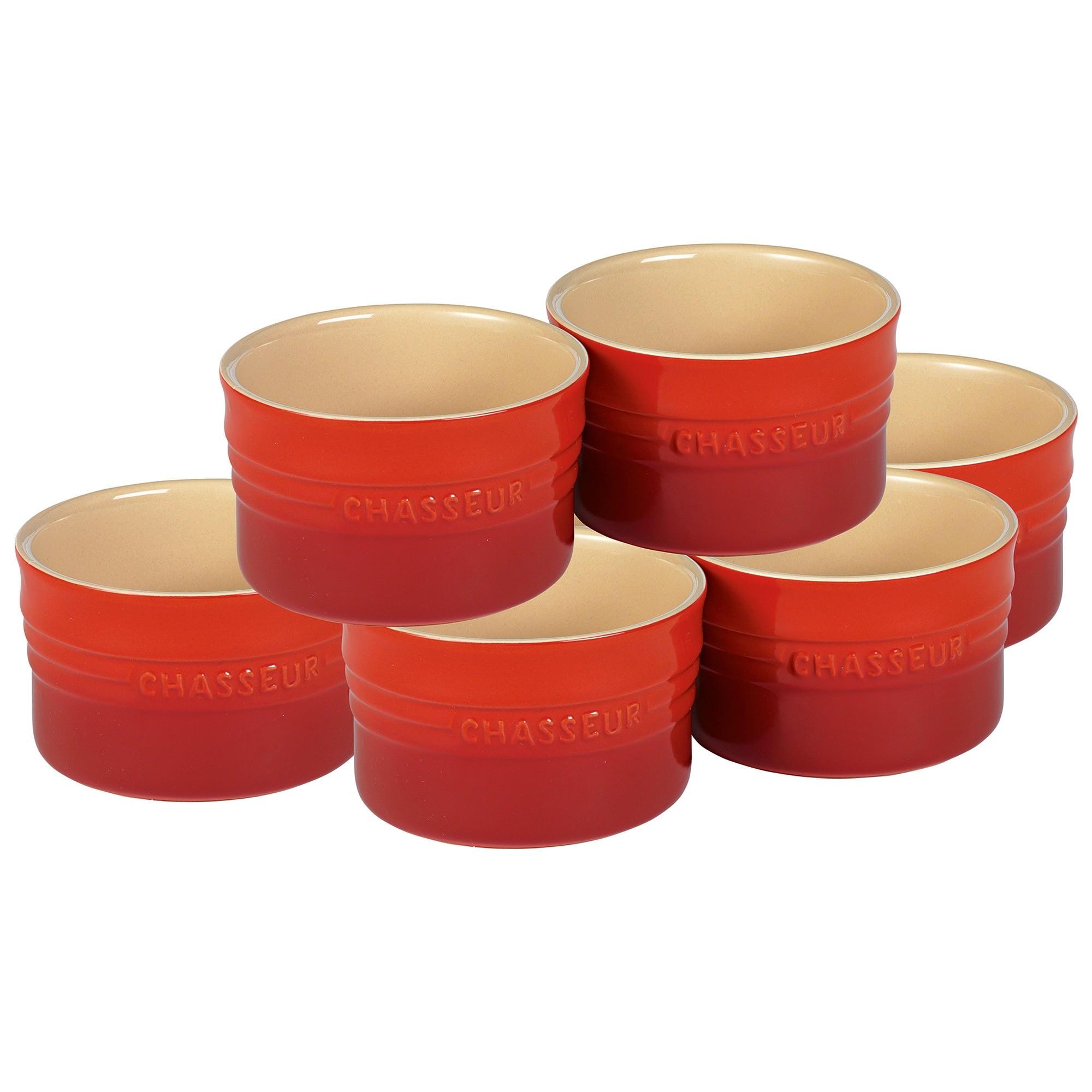 Chasseur La Cuisson 6 Piece Ramekin Set, Red