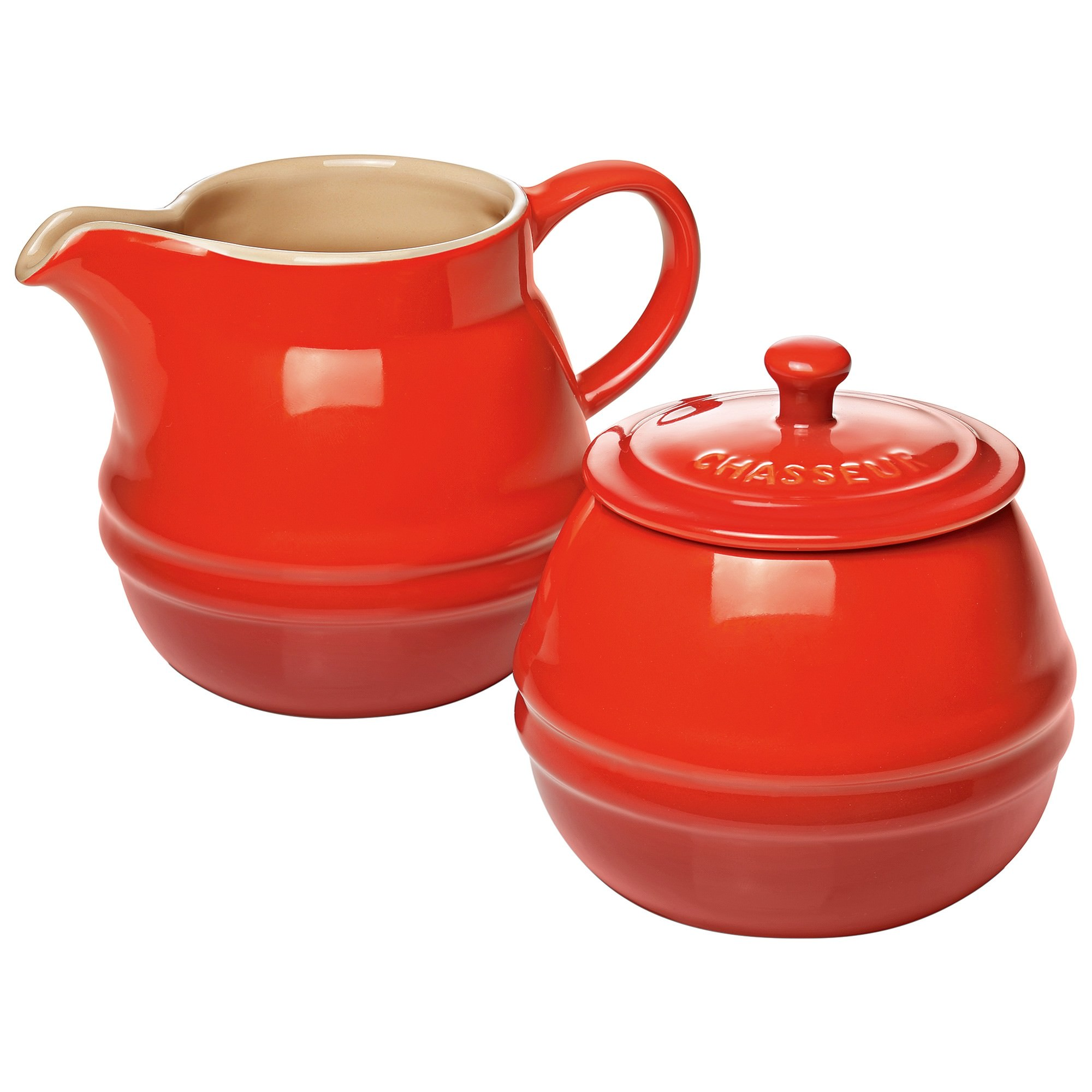 Chasseur La Cuisson Sugar Bowl and Creamer Set - Red