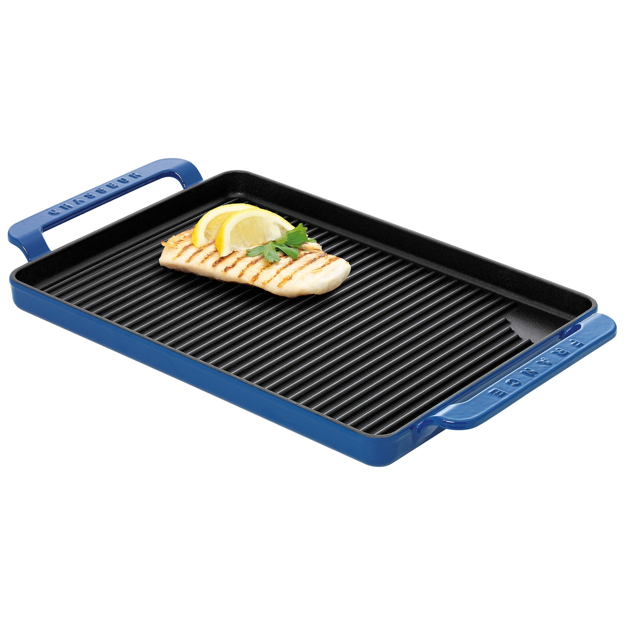 Chasseur Cast Iron Rectangular Grill, 42x24cm, Sky Blue
