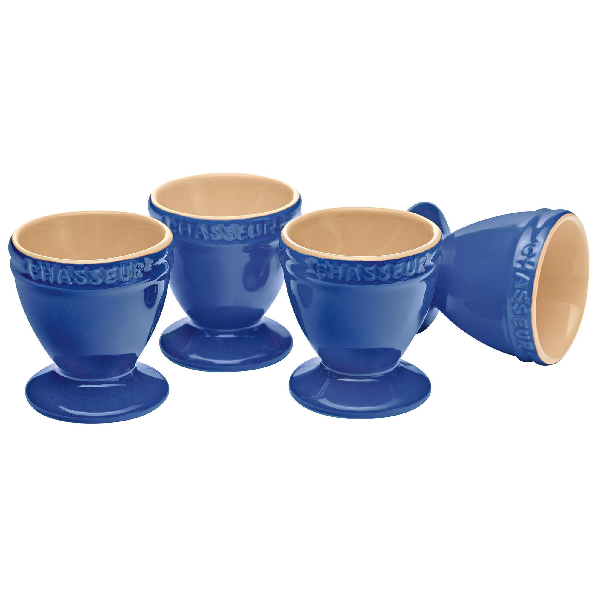 Chasseur La Cuisson 4 Piece Egg Cup Set, Blue