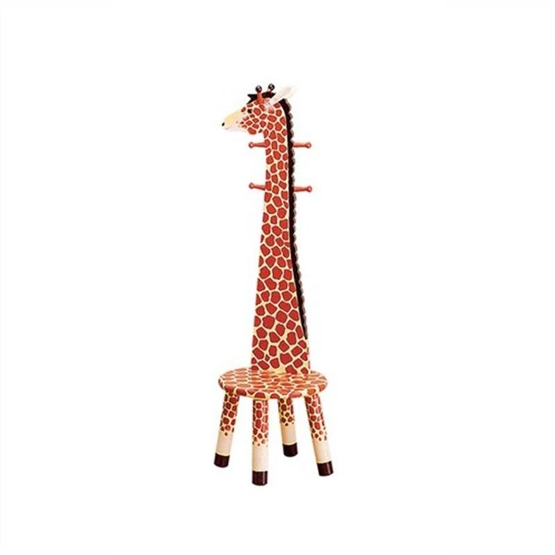 Teamson Safari Giraffe High Backed Stool With Coat Rack