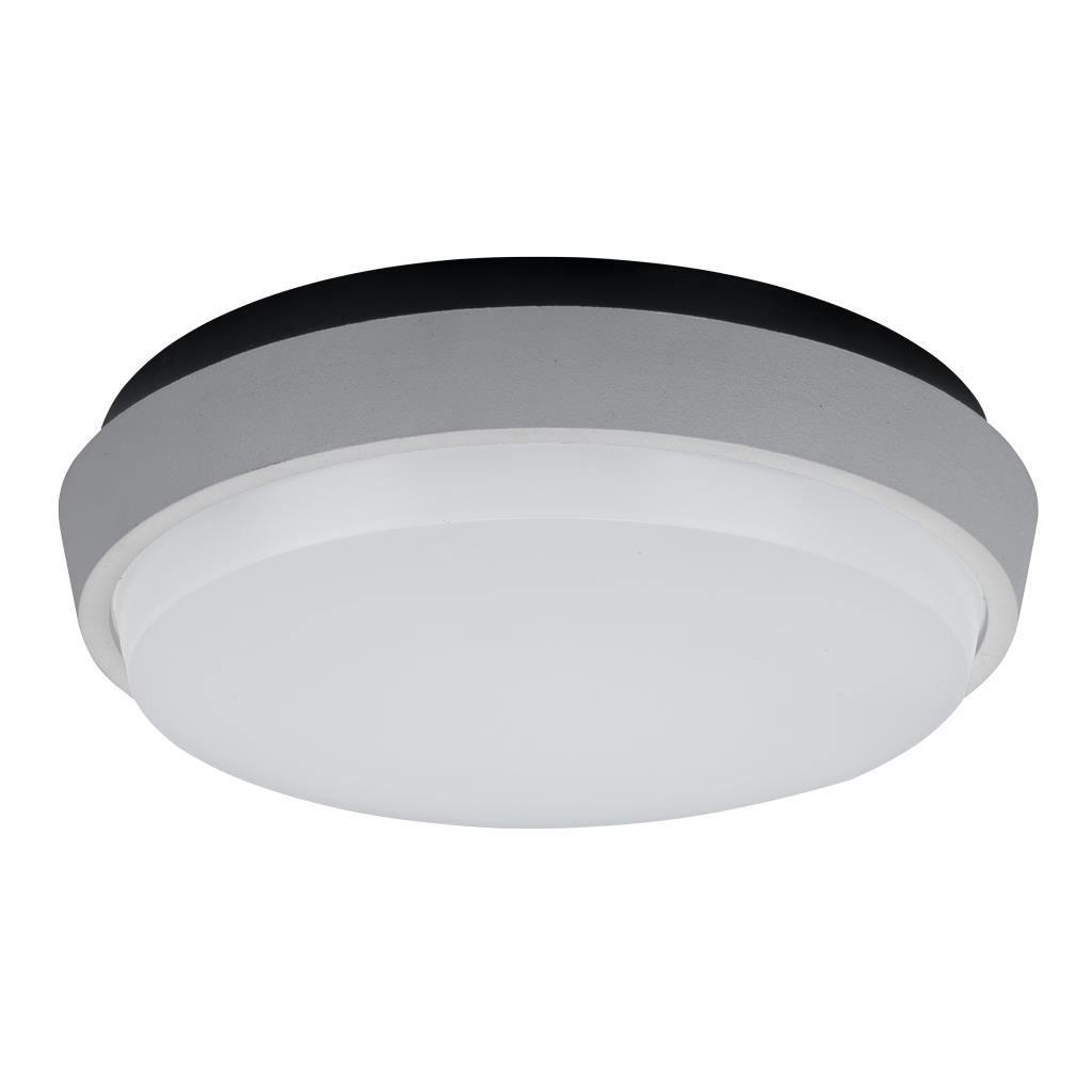Disc IP54 Indoor / Outdoor LED Oyster Light, 3000K, 24cm, Silver