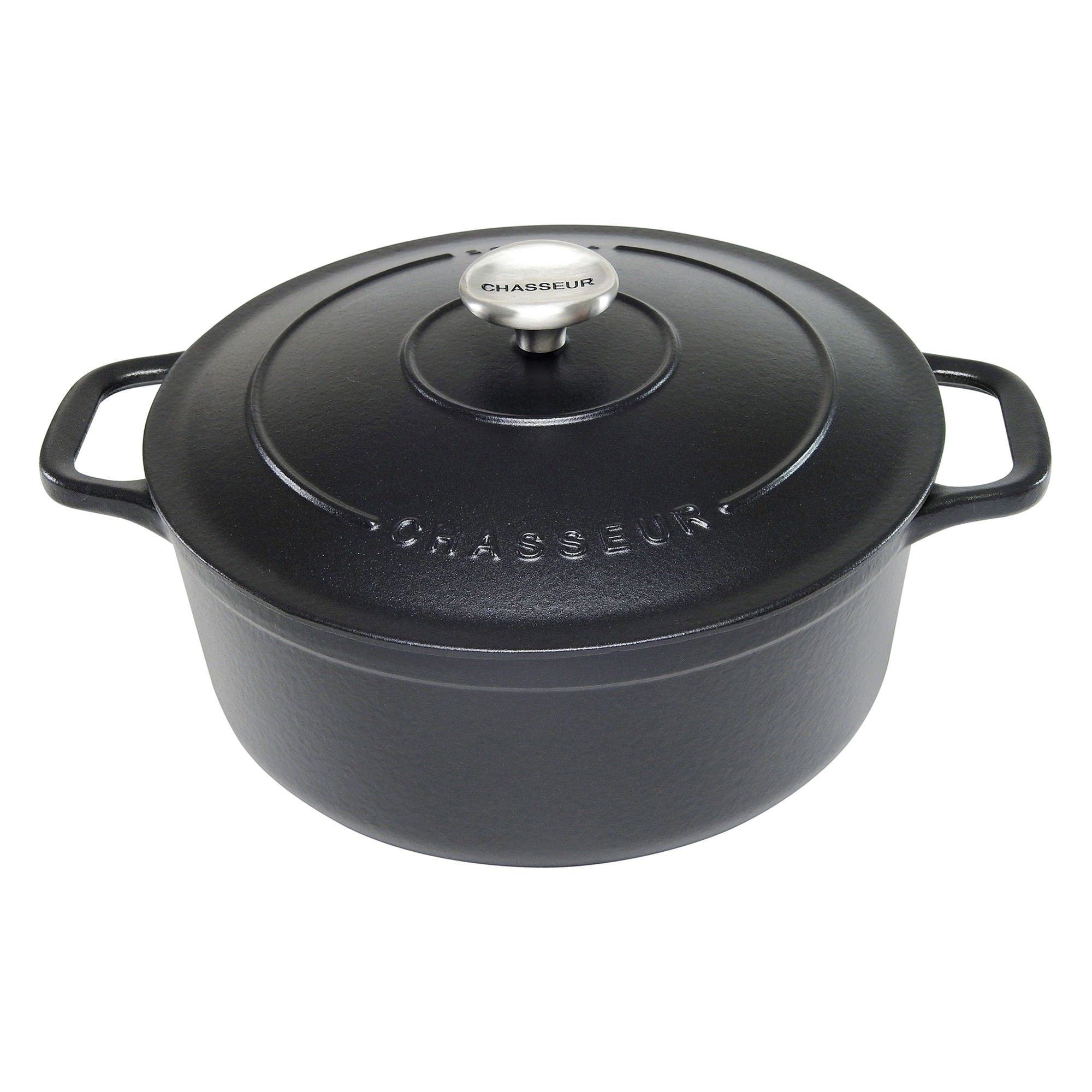 Chasseur Cast Iron Round French Oven, 26cm, Matte Black