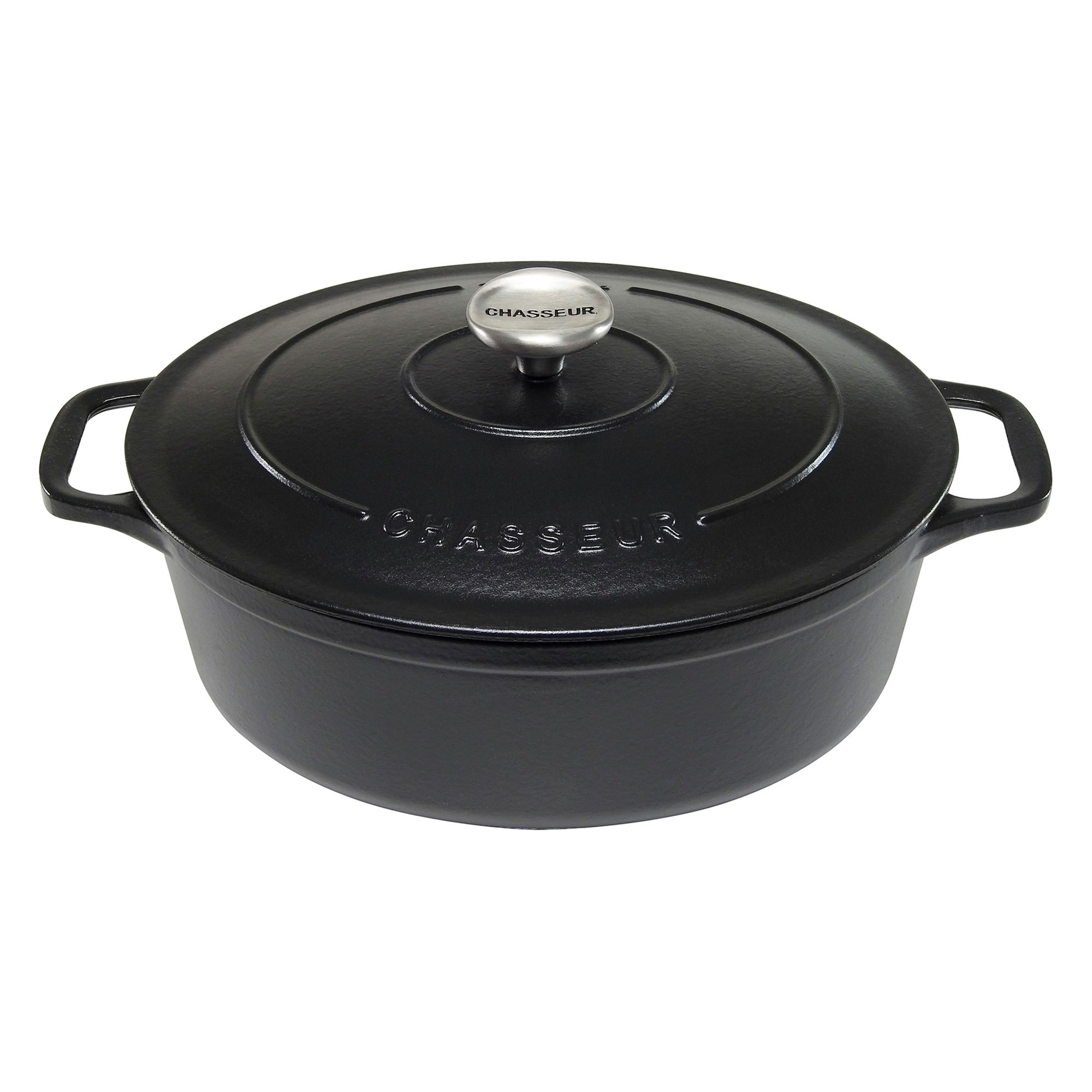 Chasseur Cast Iron Oval French Oven, 27cm, Matte Black
