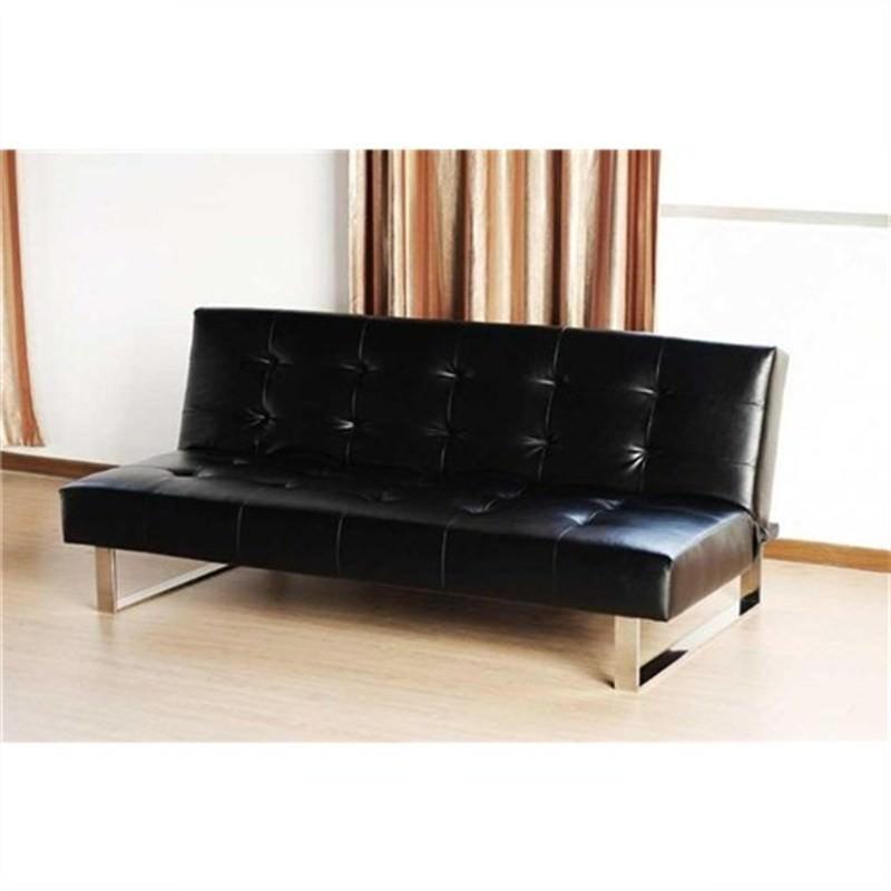 Italian Des 1P Black Pu Leather Sofa Bed Futon Sofabed