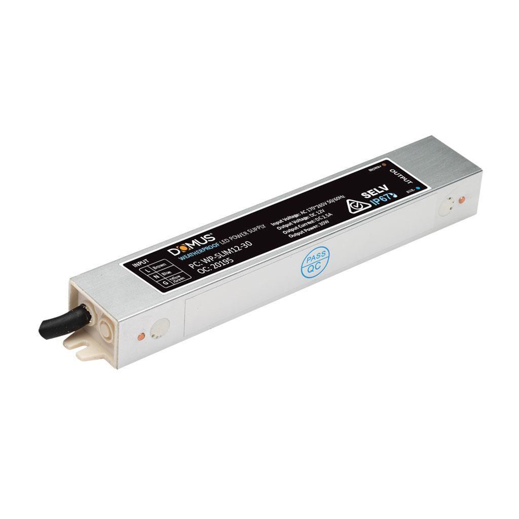 Domus IP66 Waterproof Constant Voltage Slim LED Driver, 12V, 30W