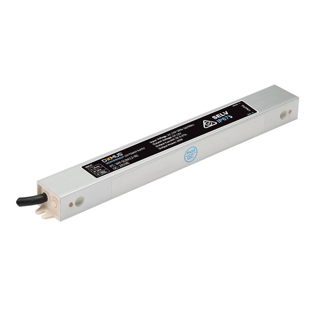 Domus IP66 Waterproof Constant Voltage Slim LED Driver, 12V, 60W