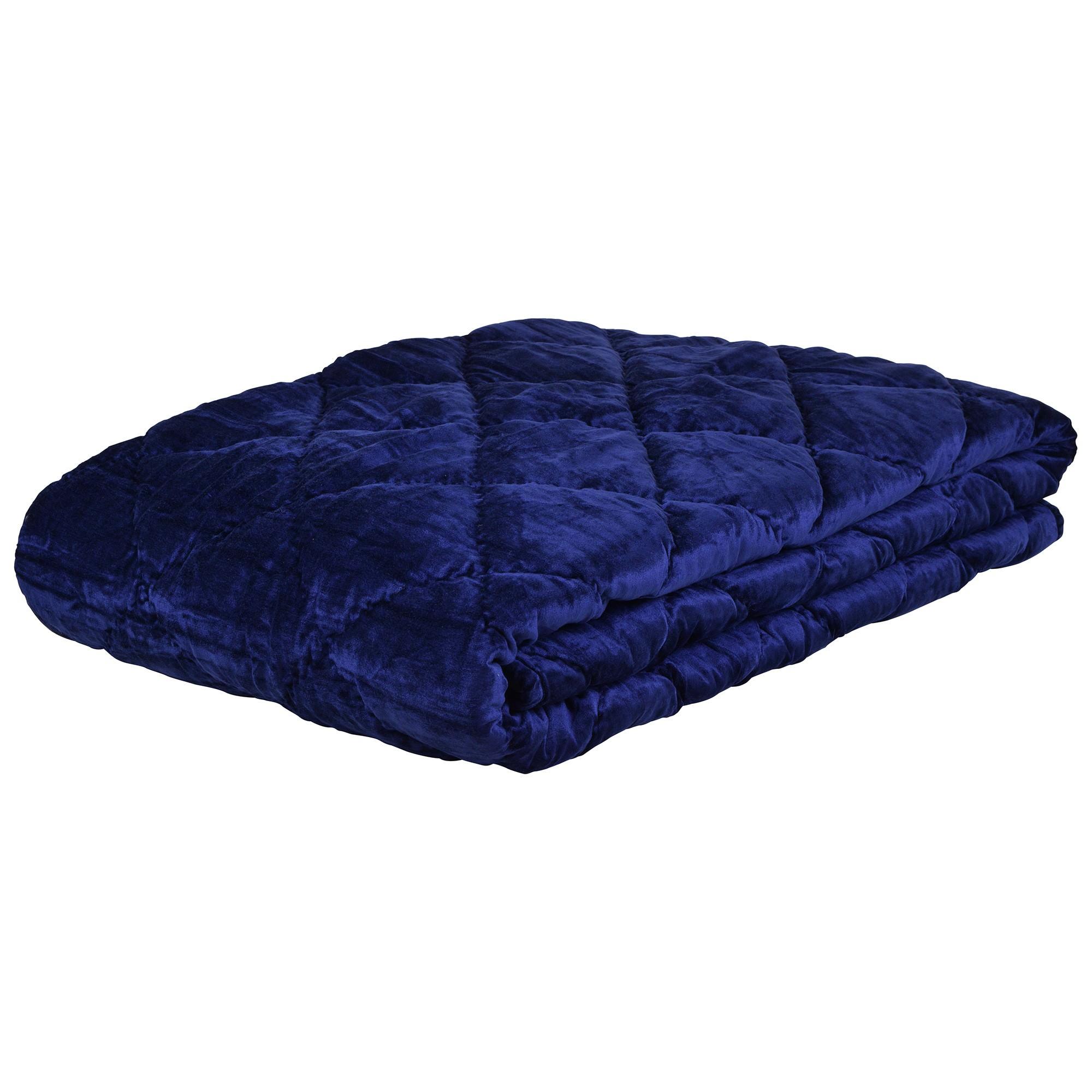 Florentine Quilted Velvet Comforter, Navy