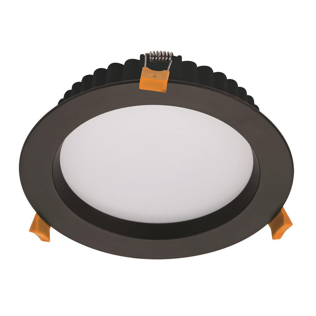 Deco IP44 Commercial Grade Indoor / Outdoor Fixed LED Downlight, 20W, Tricolour, Round, Black