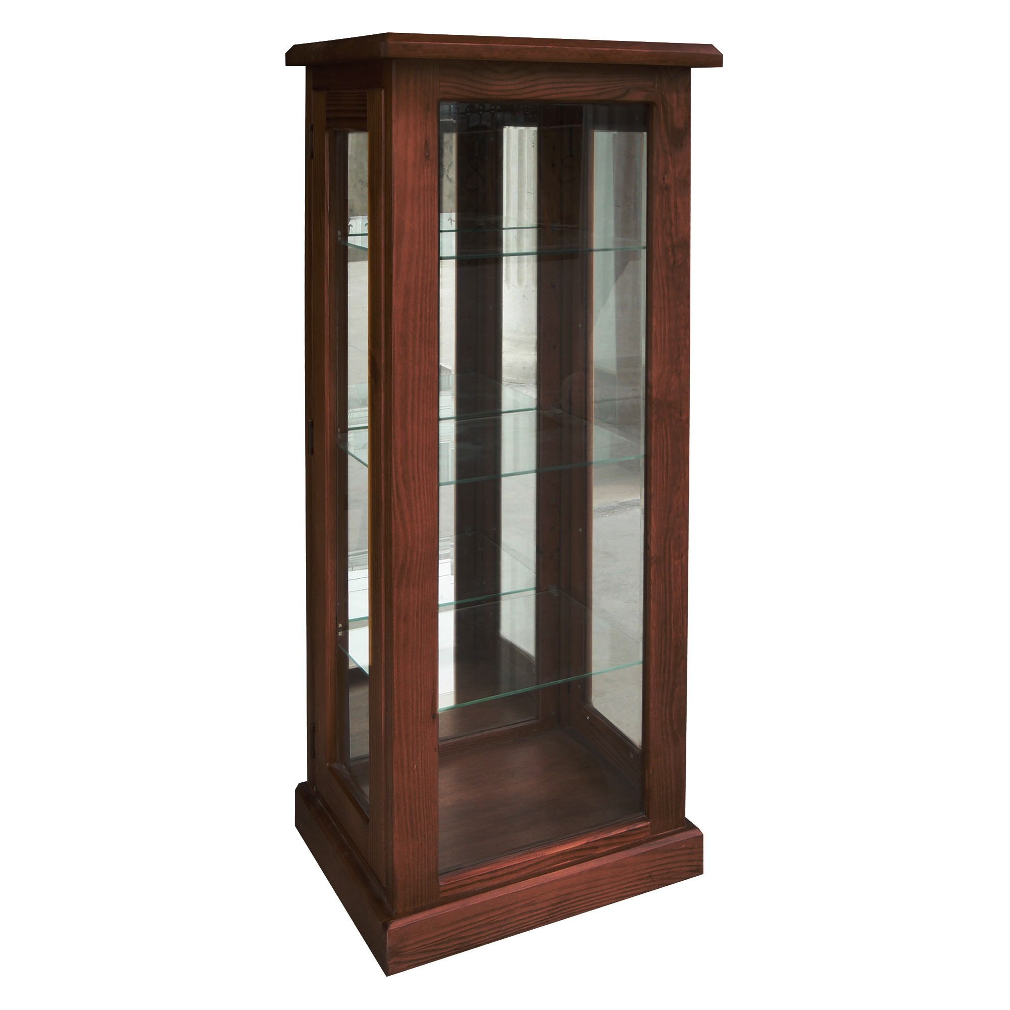 York New Zealand Pine Timber Display Cabinet, Walnut