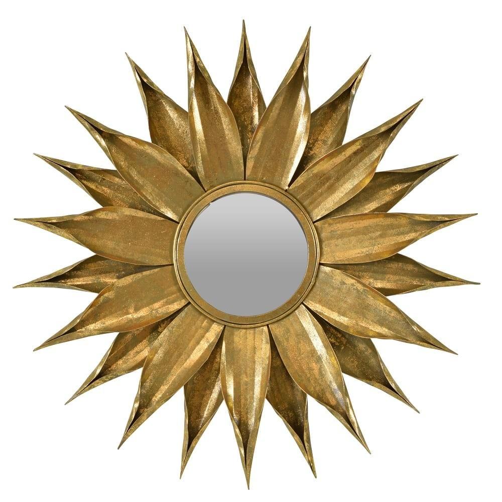 Zinnia Metal Frame Wall Mirror, 76cm, Vintage Gold