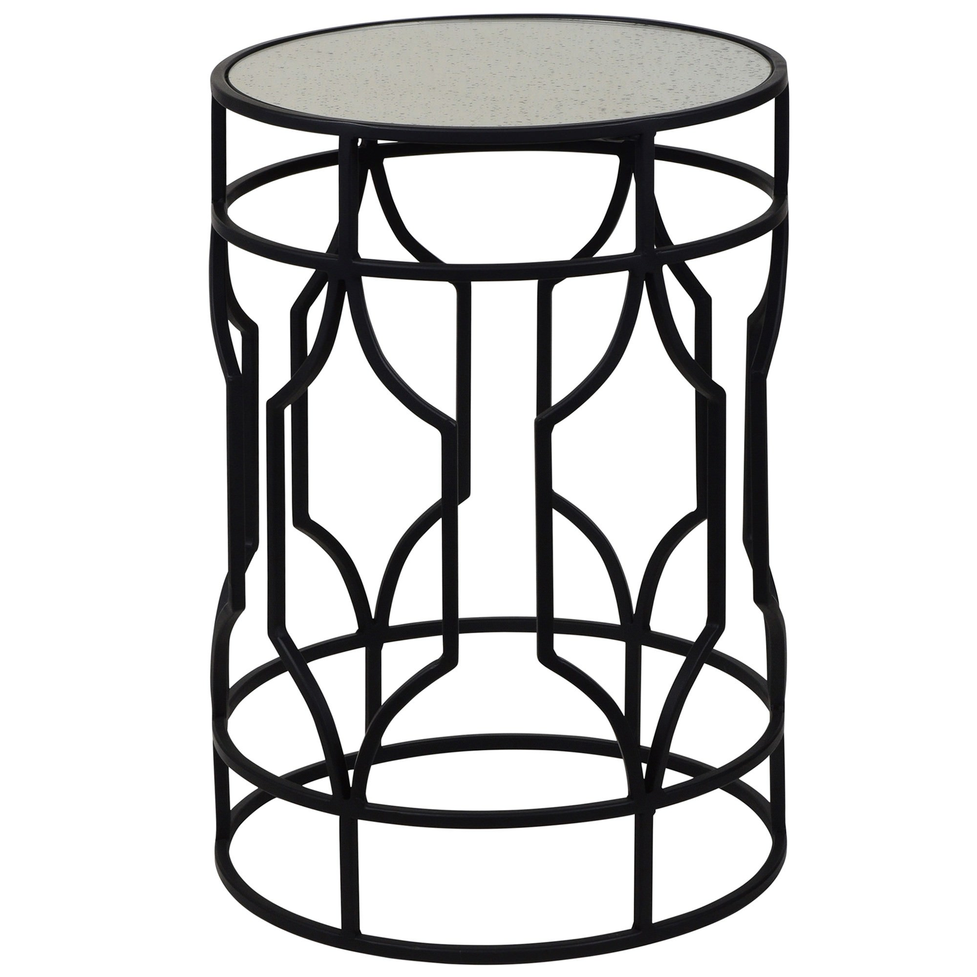 Zara Mirror Topped Iron Round Side Table, Black