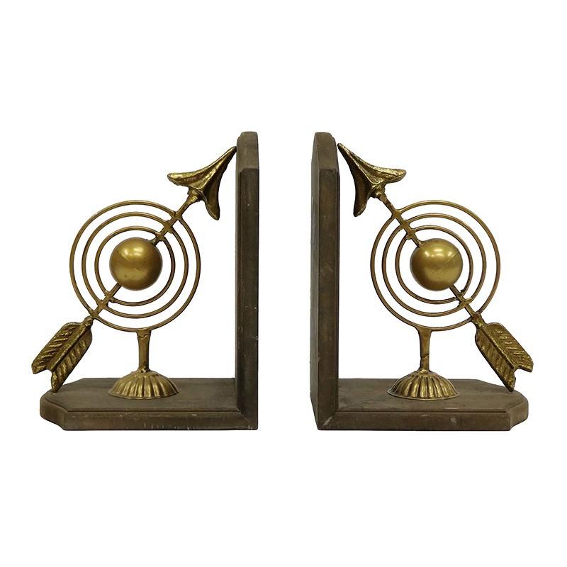 Griffin 2 Piece Iron & Wood Bookend Set