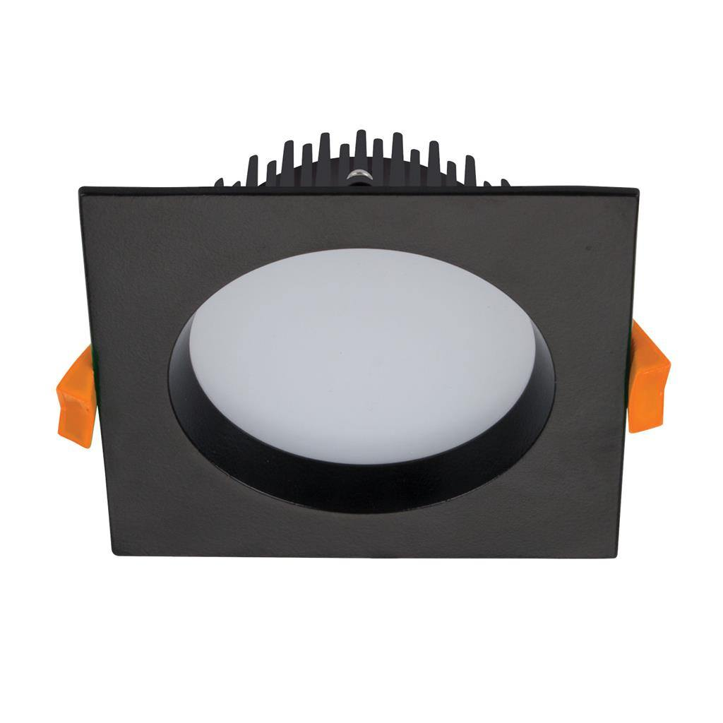Deco IP44 Indoor / Outdoor Fixed LED Downlight, 13W, Tricolour, Square, Black