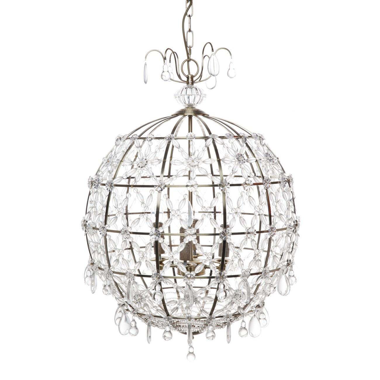 Saunders Metal & Crystal Globe Pendant Light