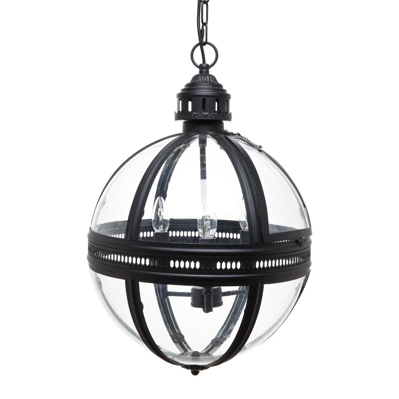 Supreme Metal & Glass Globe Pendant Light, Medium, Black