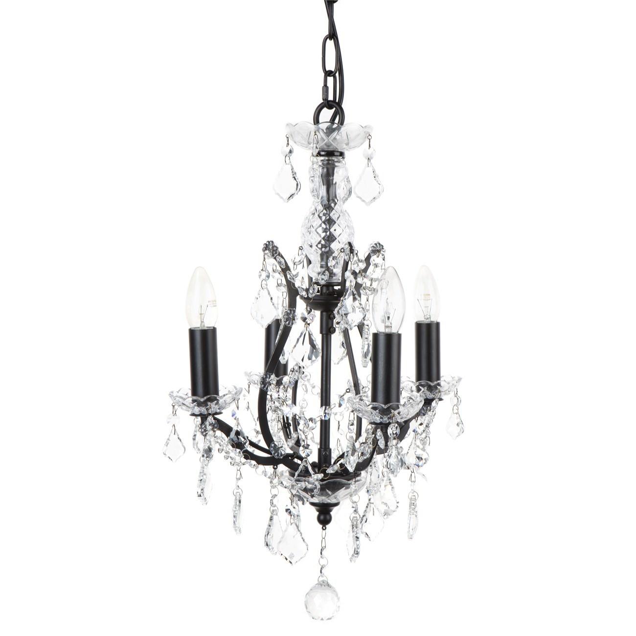 Waldorf Iron & Glass Chandelier, 4 Arm