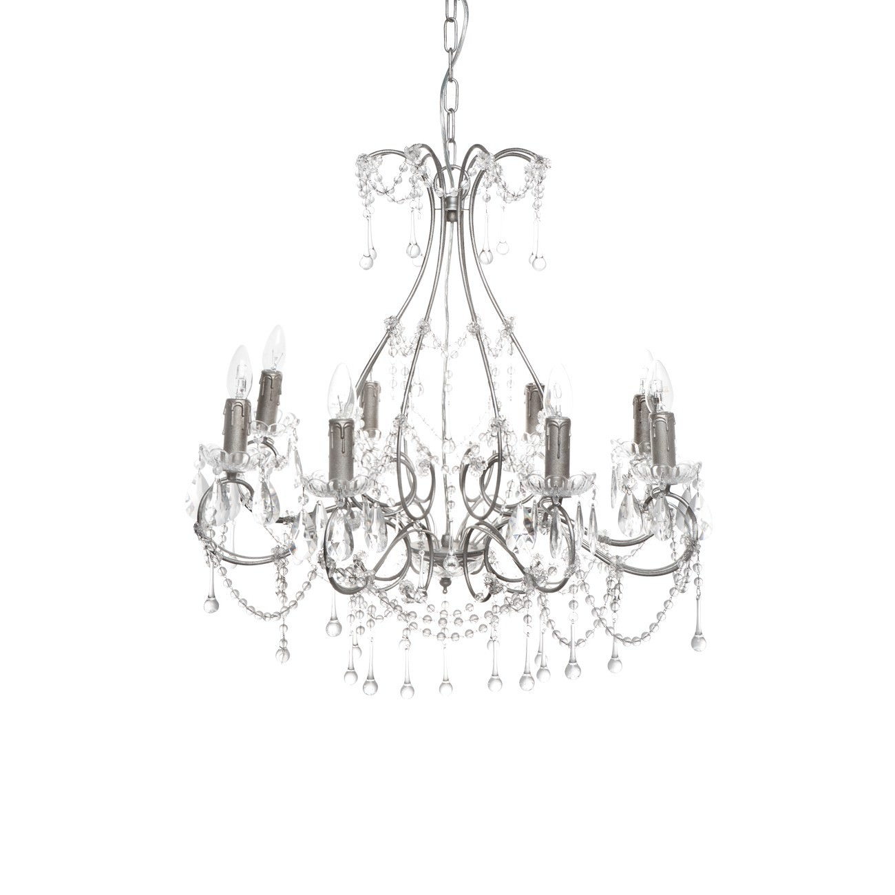 Houston Iron & Crystal Chandelier, 8 Arm, Antique Silver