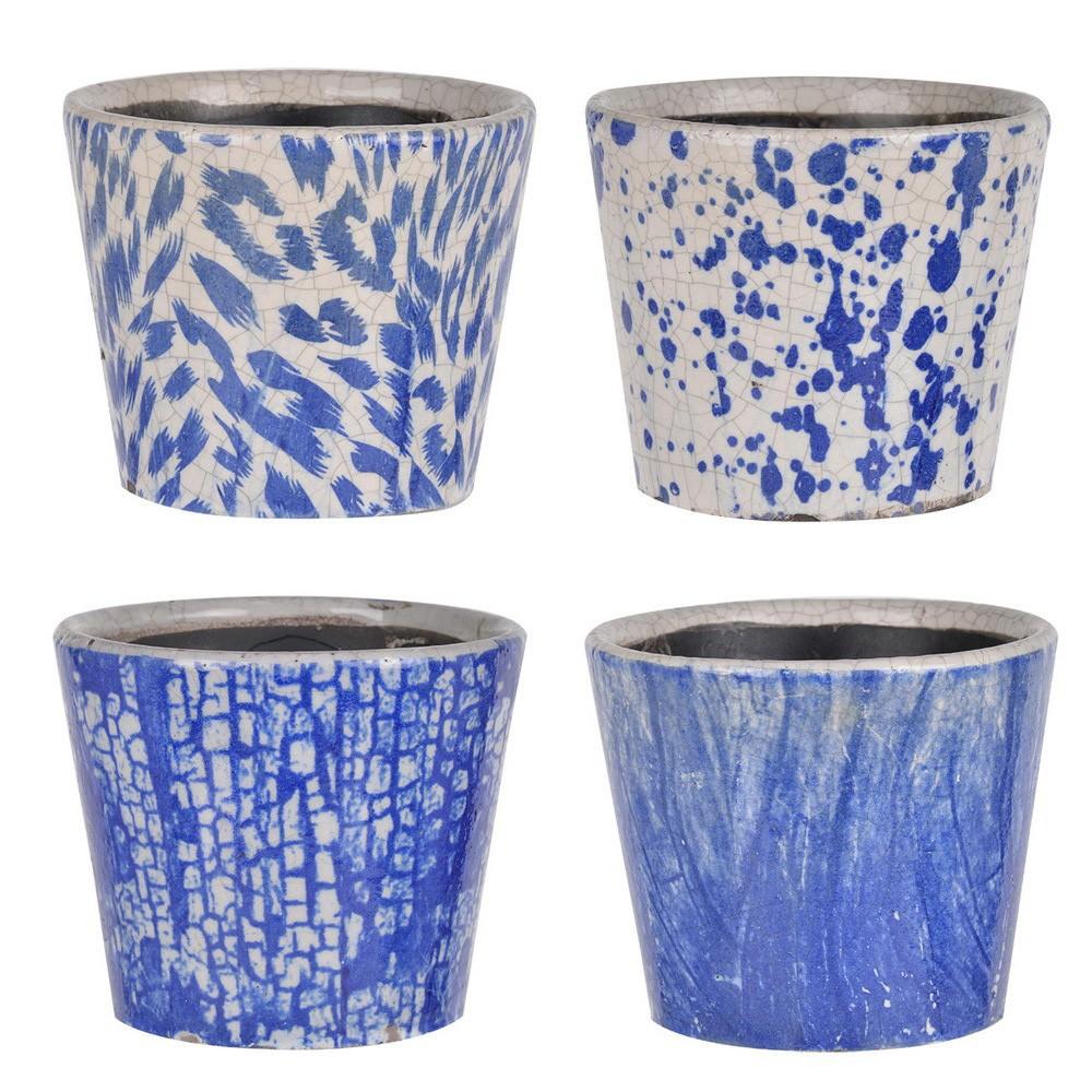 Sienna 4 Piece Terracotta Planter Pot Set, Blue