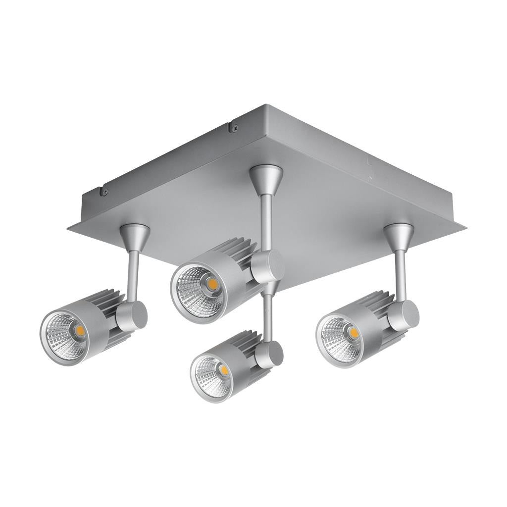Jet LED Square Plate Spotlight, 4 Light, 5000K, Silver