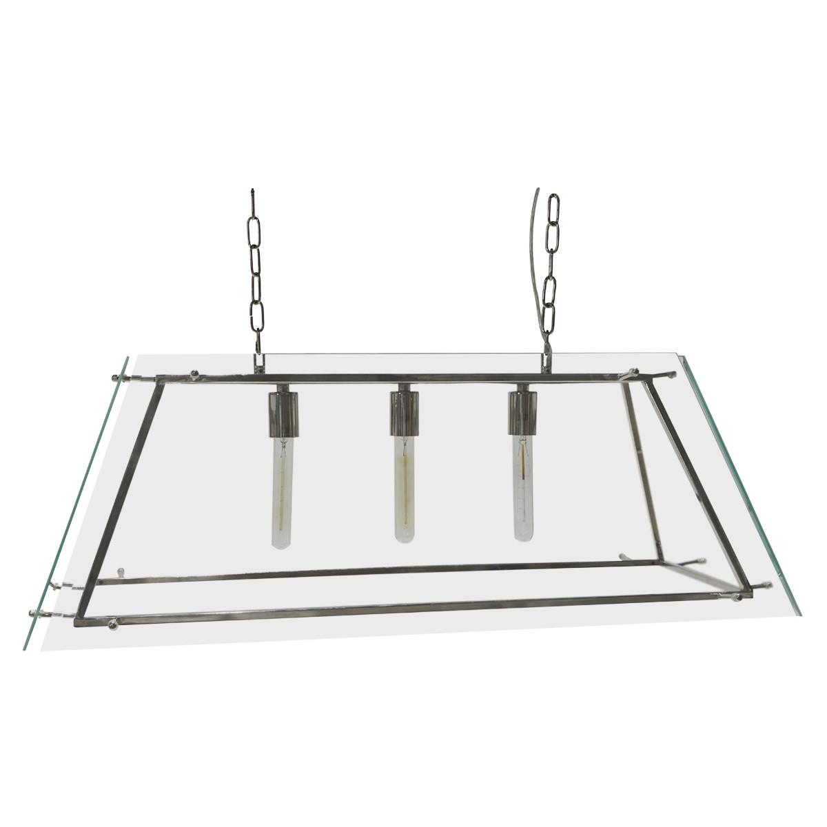 London Glass Pendant Light, Large, Nickel