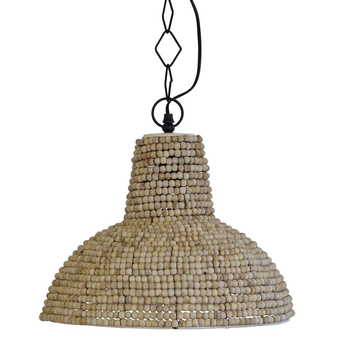 Zimbabwe Wooden Beads Pendant Light, Large