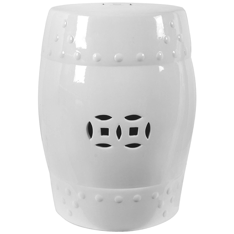 Mogilla Ceramic Drum Stool / Side Table, White