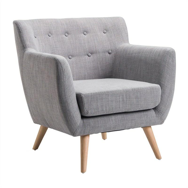 Yasha Retro Fabric Upholstered Armchair - Grey